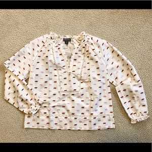 J.Crew long-sleeve point sur patterned blouse
